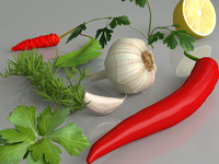 Chilli, garlic, parsley,lemon,pimento